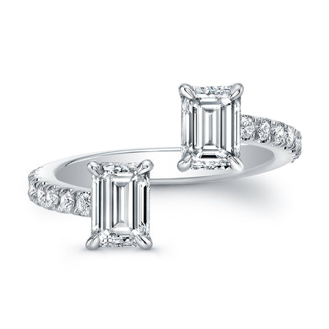 Emerald-Cut Diamond Pave Open Band
