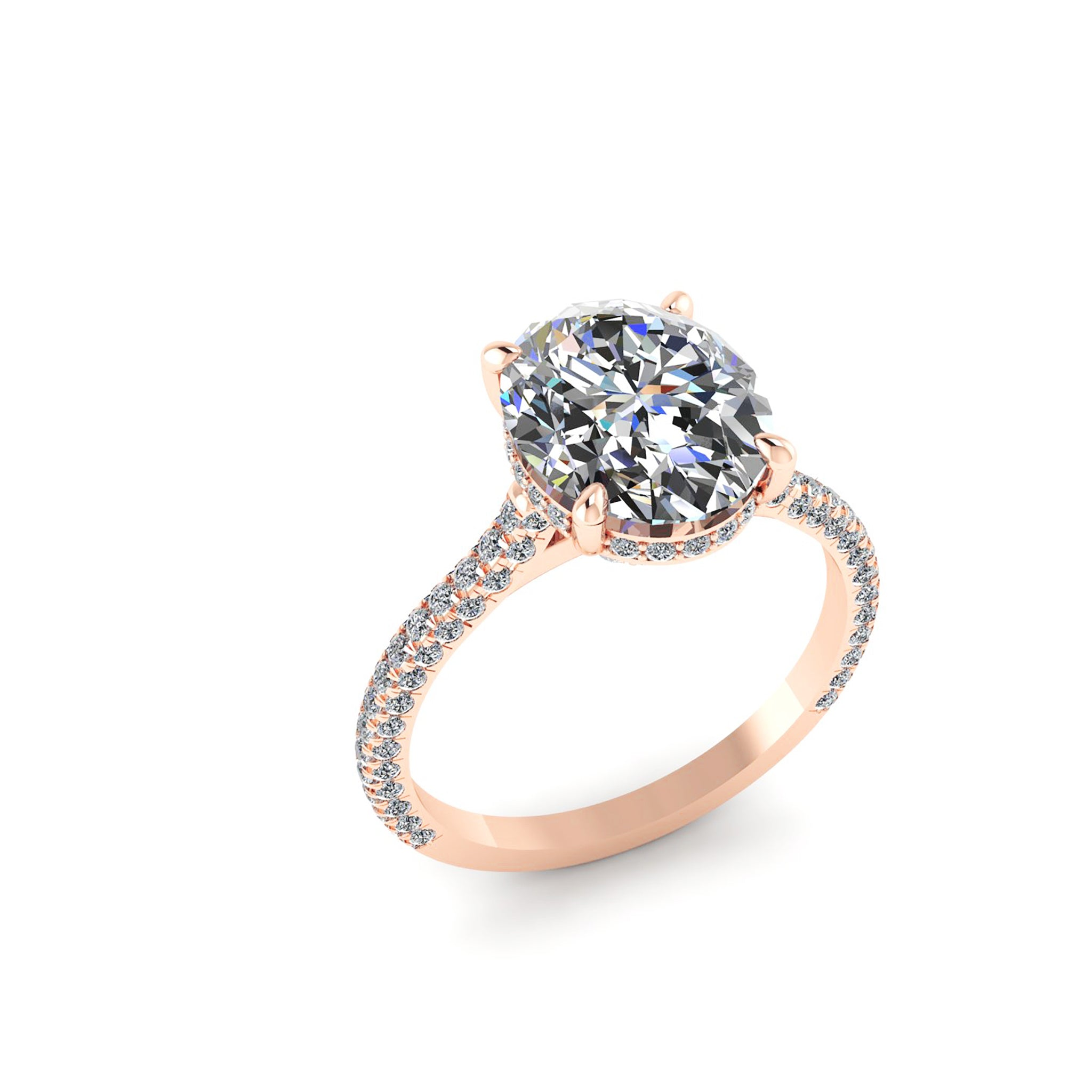 SIGNATURE OVAL with PAVÉ BAND ENGAGEMENT RING