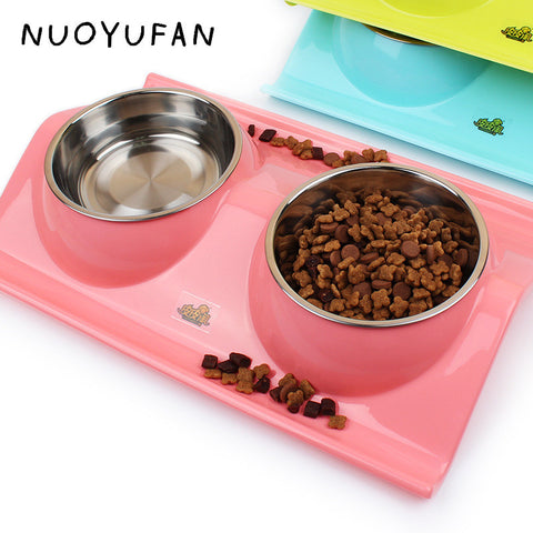 Plastic Stainless Steel Combo Dog Bowl