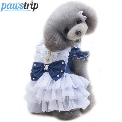 Cute Bow Lace Pet Dog Dress
