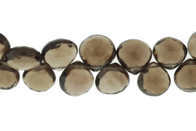 Brown Smoky Quartz 9mm Faceted Heart Shaped Briolettes