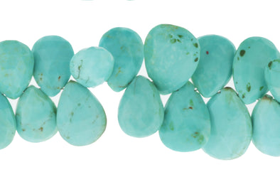 Natural Blue Turquoise 13x9mm Faceted Pear Shaped Briolettes