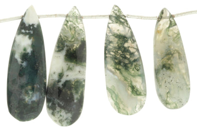 Green Moss Agate 20x10mm Faceted Pear Shaped Briolettes