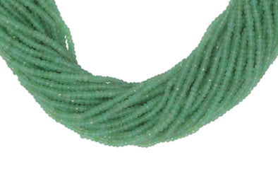 "Chrysoprase 3mm Hand Faceted Rondelles 13"" Bead Strand"