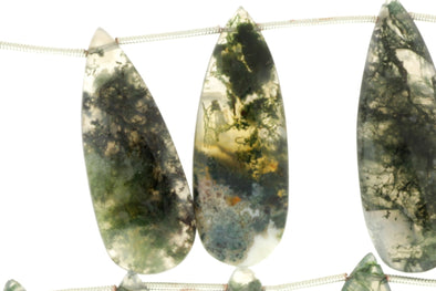 Green Moss Agate 28x12mm Faceted Pear Shaped Briolettes