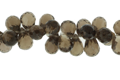 Brown Smoky Quartz 10x6mm Faceted Teardrop Briolettes Bead Strand