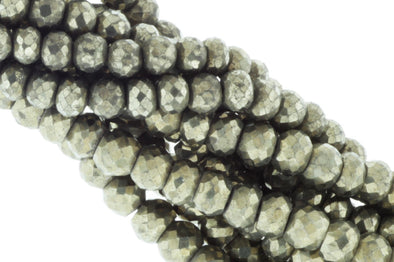 Natural Bronze Pyrite 7mm Faceted Rondelles