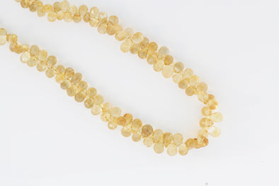 Yellow Citrine 6x4mm Faceted Teardrop Briolettes
