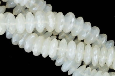 Coated White Moonstone 8mm German Cut Faceted Rondelles