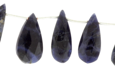 Blue Sodalite 18x10mm Faceted Pear Shaped Briolettes