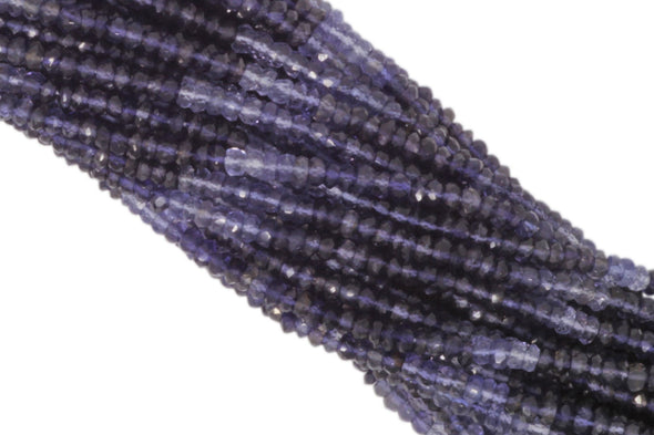 "Ombre Iolite 3.5mm Hand Faceted Rondelles 13"" Bead Strand"