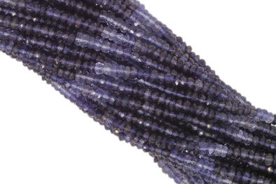 Ombre Iolite 4mm Faceted Rondelles