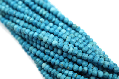 Blue Turquoise (R) 3.5mm Faceted Rondelles