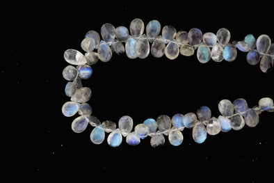 "AA Blue Labradorite 6x8mm Faceted Pear Shaped Briolettes 8"" Bead Strand"