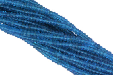 "Neon Blue Apatite 3mm Smooth Rondelles 13"" Bead Strand"