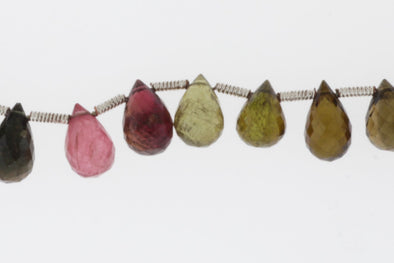 Watermelon Tourmaline 9x6mm Faceted Teardrop Briolettes