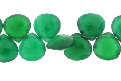 Green Onyx 10mm Faceted Heart Shaped Briolettes