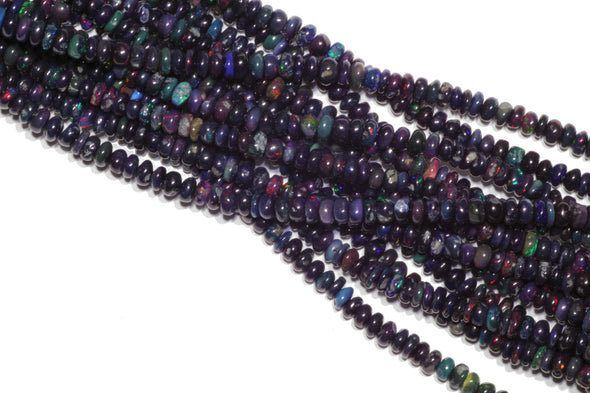 "Black Ethiopian Opal 4mm Smooth Rondelles 16"" Bead Strand"