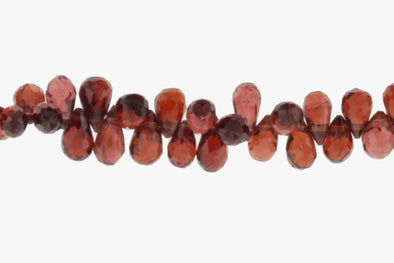 Red Garnet 7x4mm Faceted Teardrop Briolettes Bead Strand