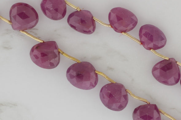 Red Ruby 8mm Faceted Heart Shaped Briolettes
