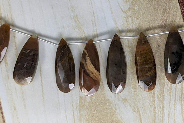 Botswana Agate 25x9mm Faceted Pear Shaped Briolettes