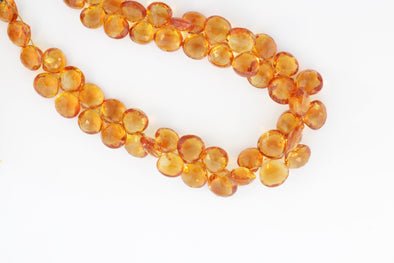 Orange Madeira Citrine 8mm Faceted Heart Shaped Briolettes
