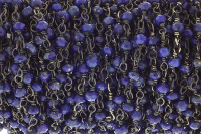 Dark Blue Lapis Lazuli 3mm Faceted Rondelles Rosary Chain Sterling Silver with Black Rhodium Plating Wire Wrap Chain by the Foot