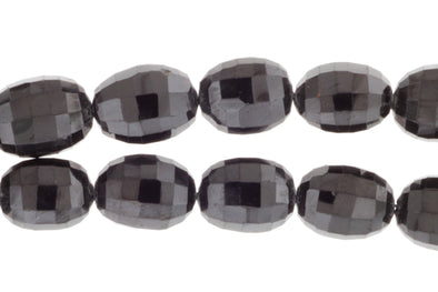 Black Spinel 14x10mm Faceted Drums