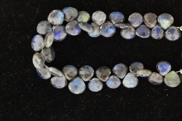 AA Dark Blue Labradorite 10mm Faceted Heart Shaped Briolettes