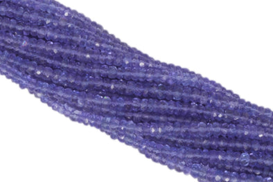"AAA Tanzanite 3mm Hand Faceted Rondelles 13"" Bead Strand"