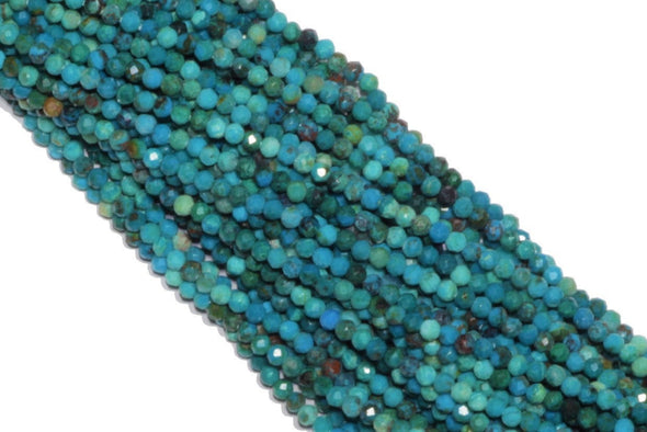 Chrysocolla 2mm Faceted Rounds