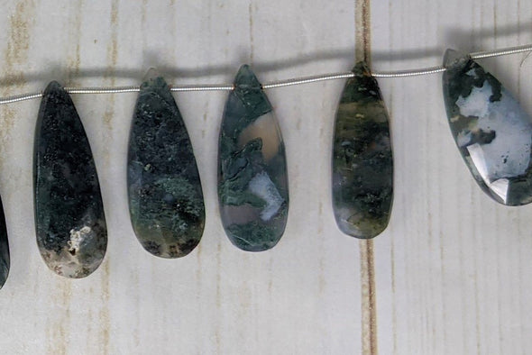 Green Moss Agate 25x12mm Faceted Pear Shaped Briolettes
