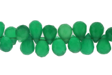 Green Onyx 6x4mm Faceted Teardrop Briolettes
