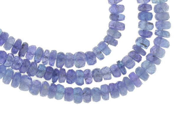 "Blue Tanzanite 4.5mm - 5.5mm Faceted Rondelles 13"" Bead Strand"