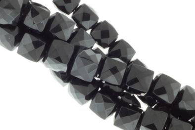 Black Spinel 6mm Faceted Cubes