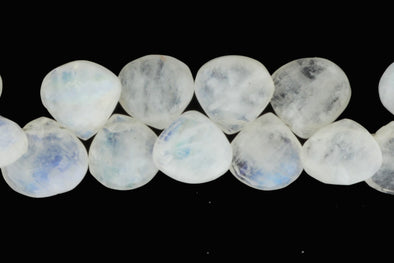 "Blue Rainbow Moonstone 11mm Faceted Heart Shaped Briolettes 8"" Bead Strand"