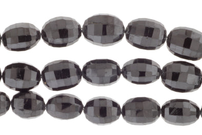 Black Spinel 12x9mm Faceted Drums