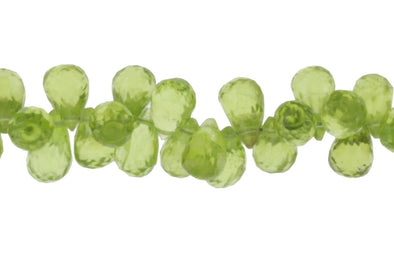 Green Peridot 7x4mm Faceted Teardrop Briolettes Bead Strand