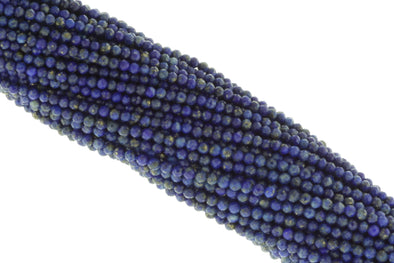 "Dark Blue Lapis Lazuli 2.5mm Faceted Rounds 13"" Bead Strand"