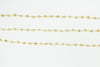 Gold Plated Pyrite 4mm Faceted Rondelles Rosary Chain Sterling Silver Wire Wrap Chain by the Foot