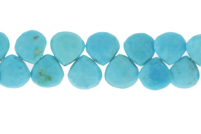 Natural Blue Turquoise 10mm Faceted Heart Shaped Briolettes