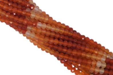 "Ombre Carnelian 3.5mm Faceted Rondelles 13"" Bead Strand"