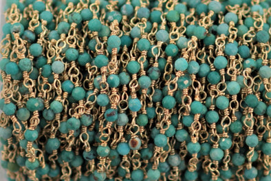 Natural Blue Turquoise 2.5mm Faceted Rounds Rosary Chain Sterling Silver with Gold Plating Wire Wrap Chain by the Foot