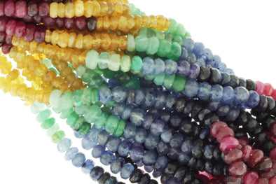 Rainbow Multi Ruby, Emerald, and Sapphire 4mm Faceted Rondelles