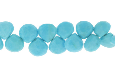 Natural Blue Turquoise 8mm Faceted Heart Shaped Briolettes