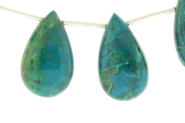 Blue Green Chrysocolla 20x10mm Smooth Pear Shaped Briolettes