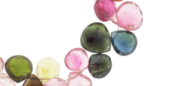 Watermelon Tourmaline 8mm Faceted Heart Shaped Briolettes