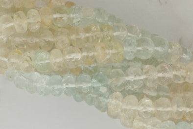 Ombre Aquamarine and Morganite 7mm Faceted Rondelles