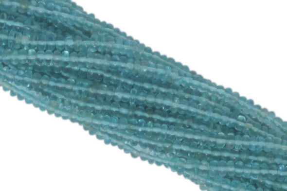Sea Blue Apatite 4mm Smooth Rondelles
