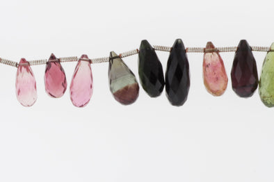 Watermelon Tourmaline 12x6mm Faceted Teardrop Briolettes